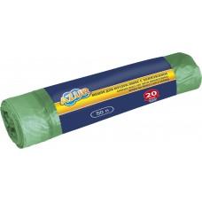 Мешки для мусора 50л/20шт с завязками зеленые Люкс /Azur/