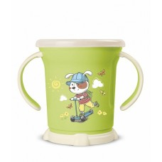 Чашка для сухих завтраков 0,27л детская с декором 2ручки зеленый /БП//