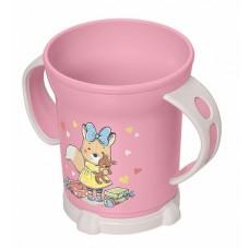 Кружка 0,27л детская с декором 2ручки (чашка) розовый /БП//