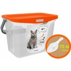 Контейнер для корма животных 6л Кошки+совок мандарин (емкость) /Berossi/